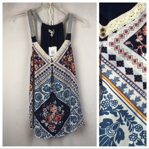 Jolt NWT Navy, Pink, White Multi-color Popover XL